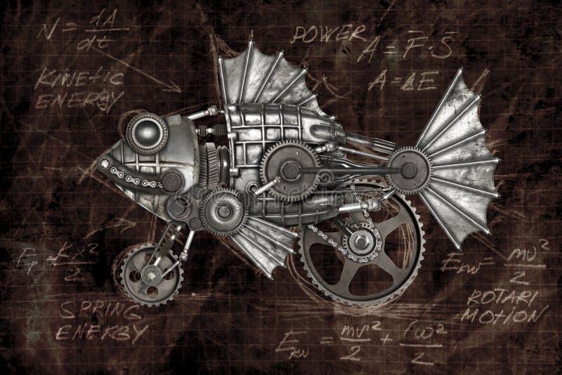 Peixes do estilo de Steampunk Compilação animal mecânica da foto foto de stock