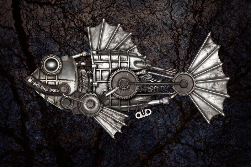 Peixes do estilo de Steampunk Compilação animal mecânica da foto fotografia de stock royalty free