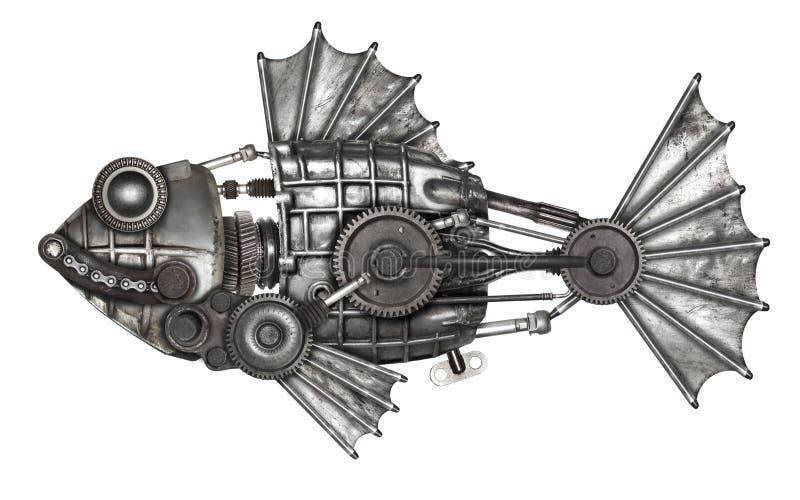 Peixes do estilo de Steampunk Compilação animal mecânica da foto imagens de stock royalty free