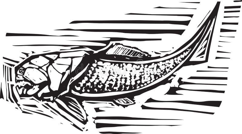 Peixes do fóssil de Dunkleosteus ilustração royalty free