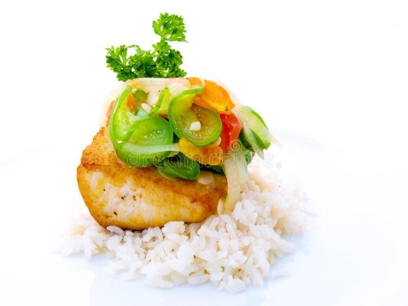 Peixes do gourmet com arroz na placa branca imagens de stock