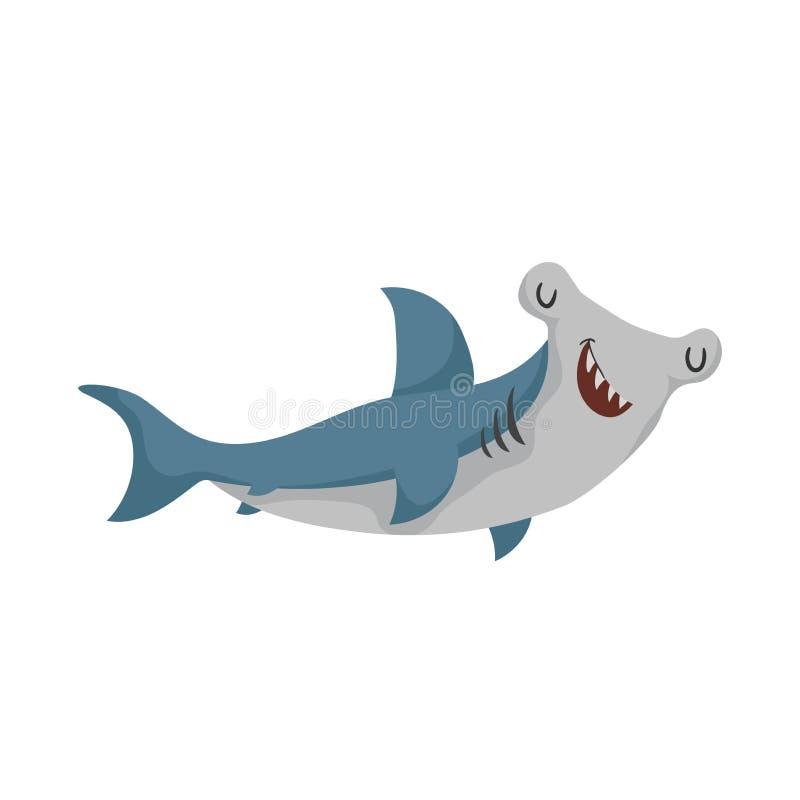 Peixes do hammerhead dos desenhos animados Ícone liso do tubarão na moda do projeto Olhos alegres e fechados ilustração royalty free