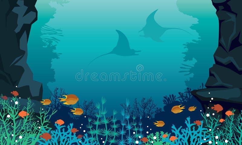 Peixes do mar subaquáticos, arraia-lixa, recife de corais ilustração royalty free