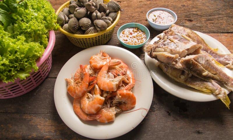 Peixes do marisco do camarão fotos de stock
