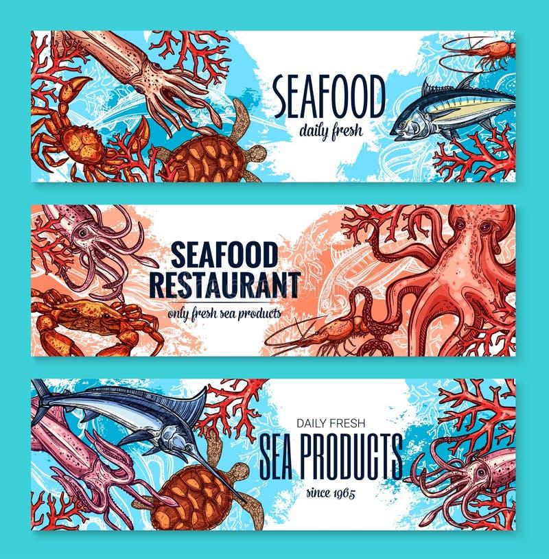 Peixes do marisco do esboço das bandeiras do vetor para o restaurante ilustração royalty free
