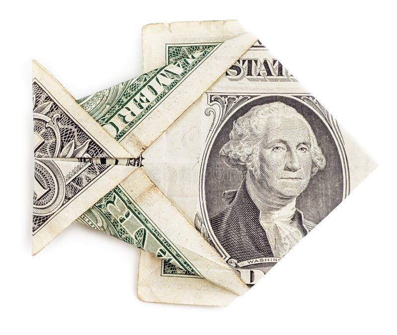 Peixes do origâmi do dólar isolados fotos de stock