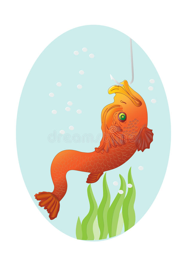 Peixes do ouro em um gancho ilustração do vetor