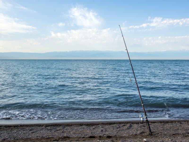 Peixes do pescador cedo na manhã na costa Vara de pesca e gerencio acampar foto de stock royalty free