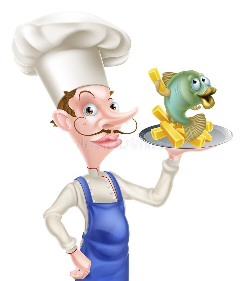 Peixes e Chips Chef dos desenhos animados ilustração royalty free