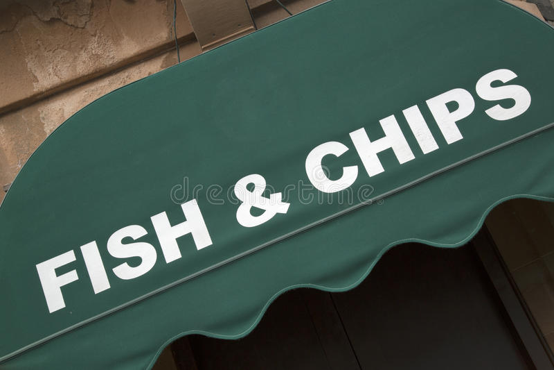 Peixes e Chips Restaurant Sign foto de stock royalty free