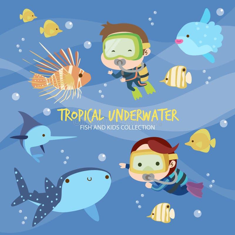Peixes e crianças subaquáticos tropicais ilustração stock