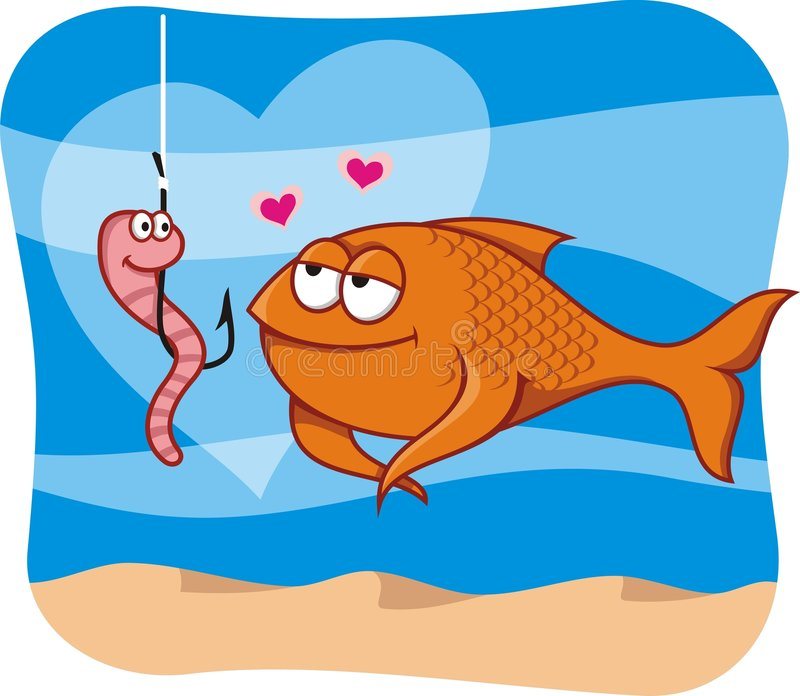 Peixes e isca no amor imagens de stock royalty free