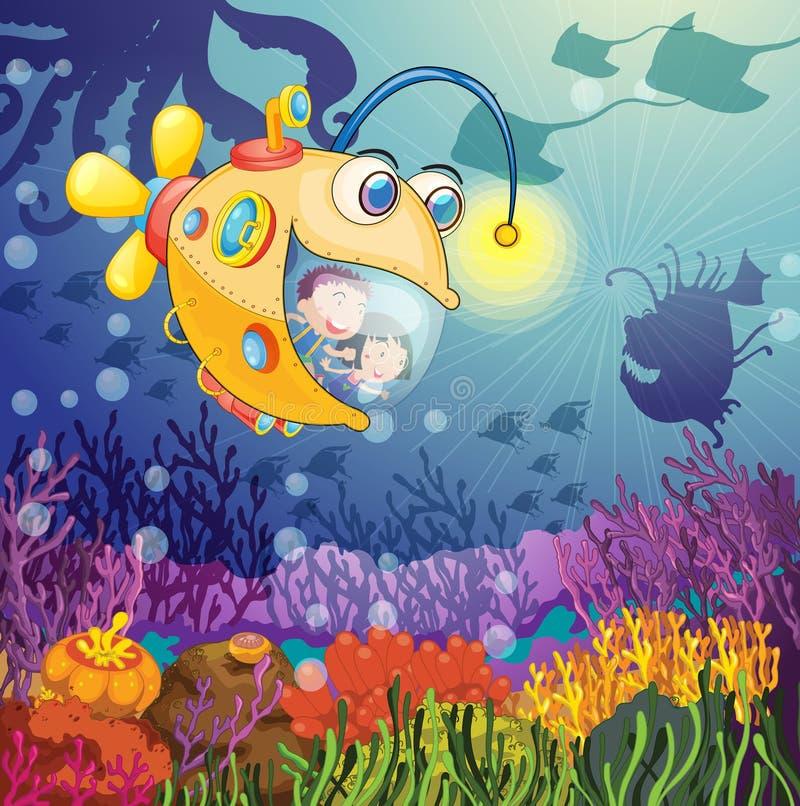 Peixes e miúdos do monstro ilustração stock