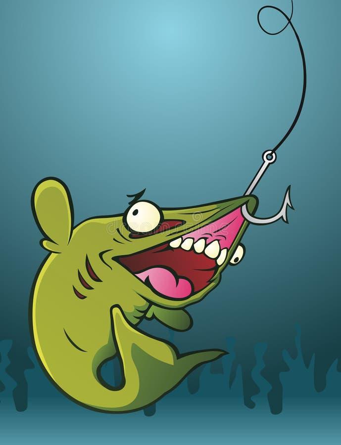 Peixes em um gancho ilustração royalty free