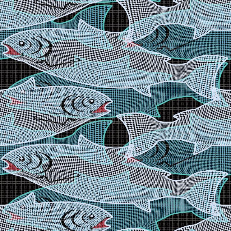 Peixes em uma rede ilustração royalty free
