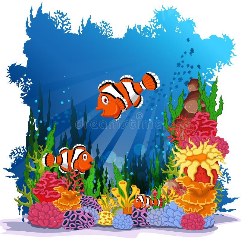 Peixes engraçados do palhaço com fundo da vida marinha ilustração royalty free