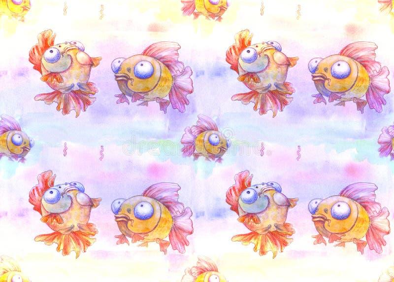 Peixes engraçados no fundo da aquarela Use materiais impressos, sinais, objetos, Web site, mapas, cartazes, ilustração stock