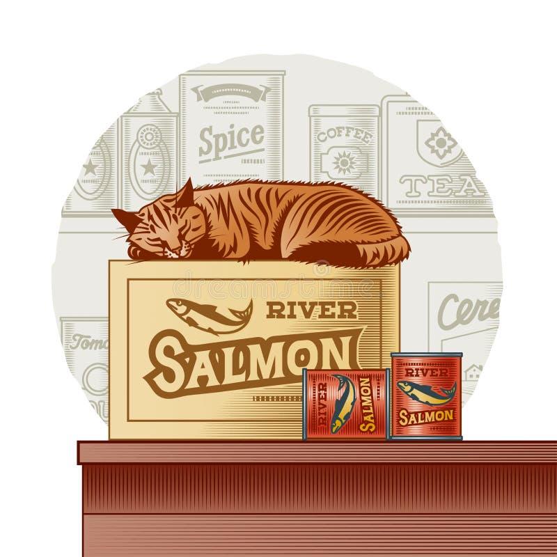 Peixes enlatados retros e gato do sono ilustração stock