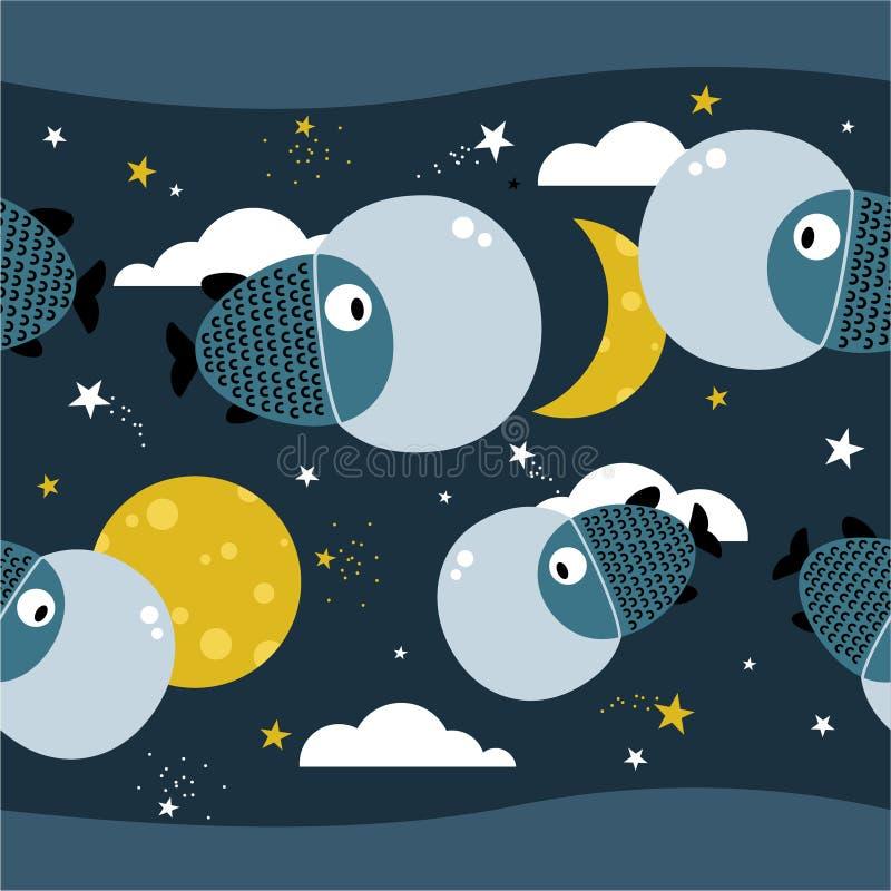 Peixes, estrelas, lua, teste padrão sem emenda colorido Fundo bonito decorativo, o espaço ilustração royalty free