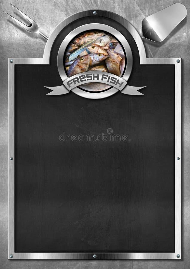 Peixes frescos - quadro-negro vazio ilustração stock