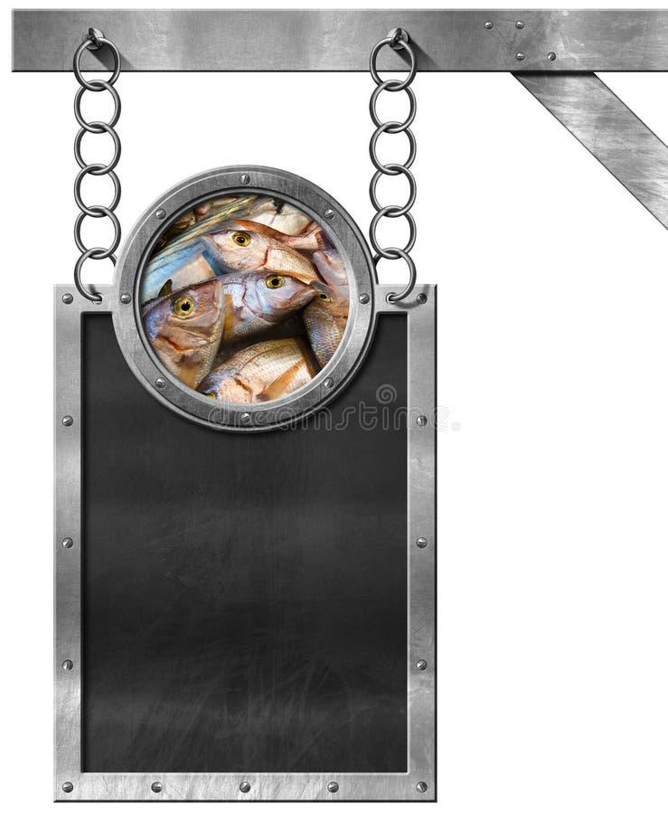 Peixes frescos - quadro-negro vazio com corrente ilustração do vetor