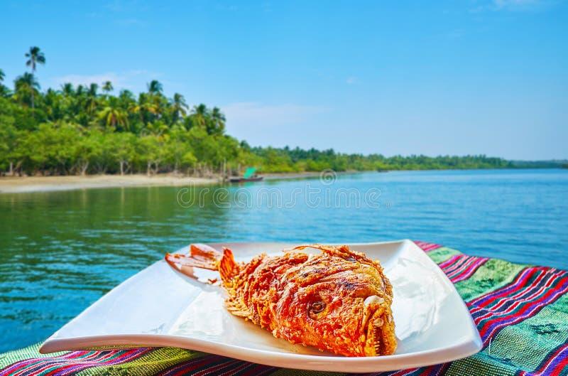 Peixes fritados, Chaung Tha, Myanmar imagens de stock
