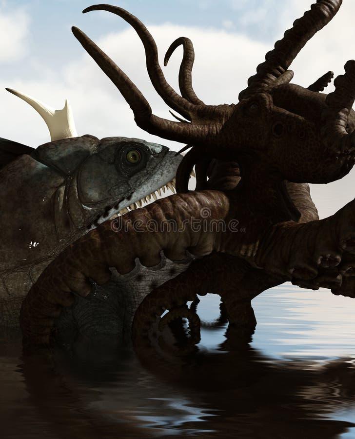 Peixes gigantes contra o polvo ilustração royalty free