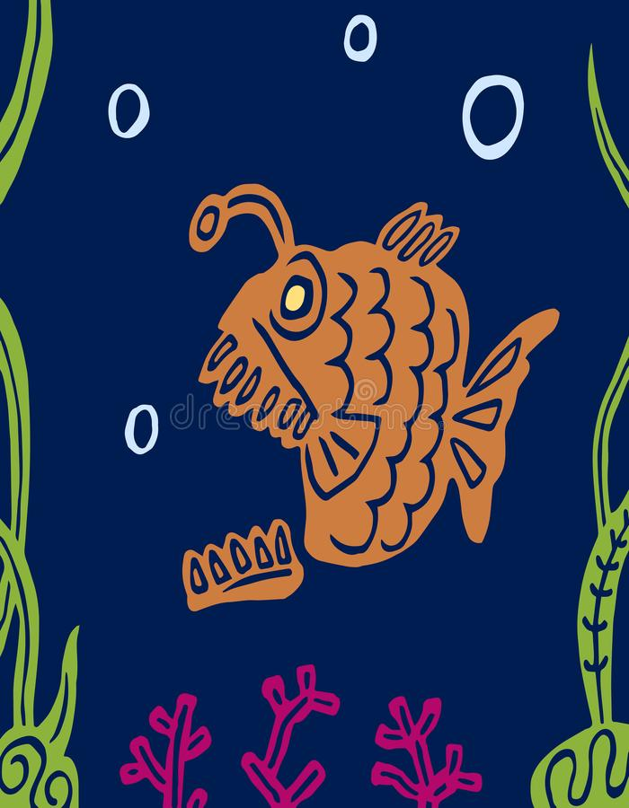 Peixes gordos predatórios carnívoros dos desenhos animados Gráficos de vetor ilustração do vetor