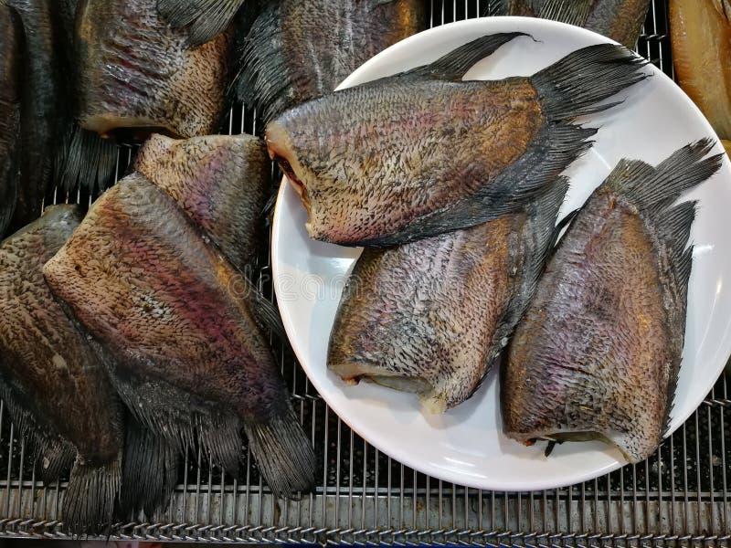 Peixes listrados do snakehead de peixes secos Smoked imagem de stock