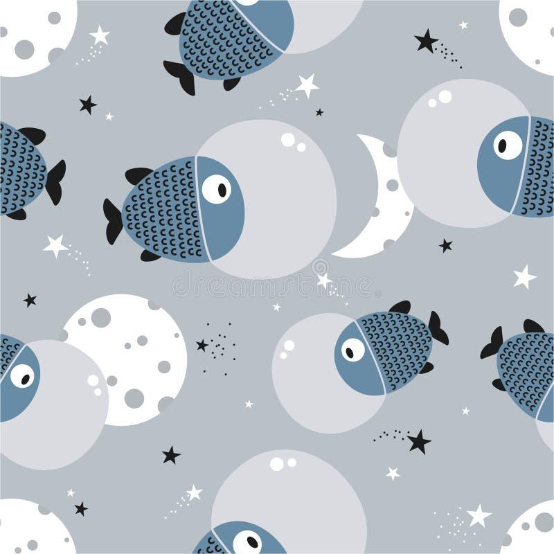 Peixes, lua e estrelas, teste padrão sem emenda ilustração stock