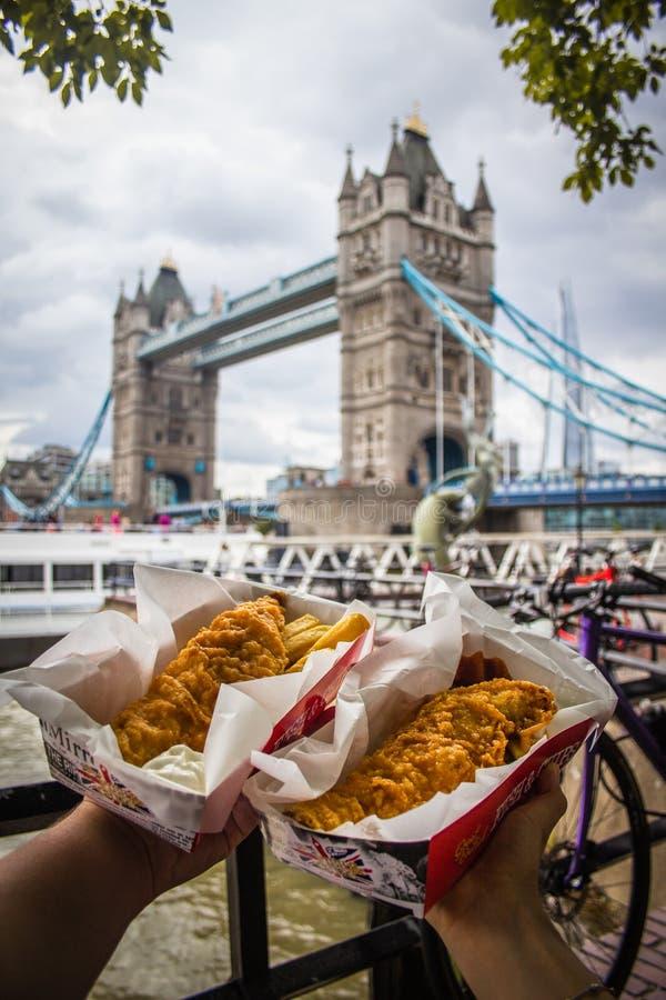 Peixes & microplaquetas e ponte da torre imagem de stock royalty free