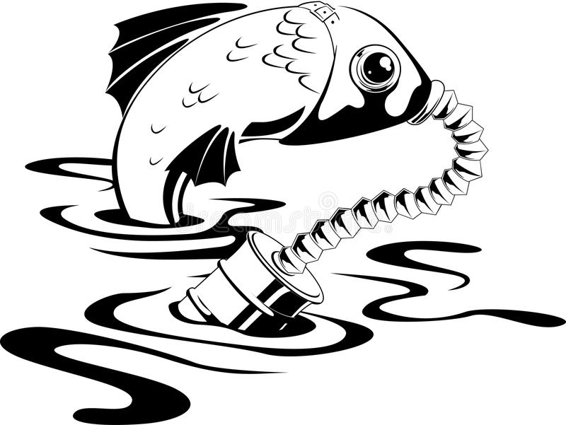 Peixes na máscara de gás ilustração stock