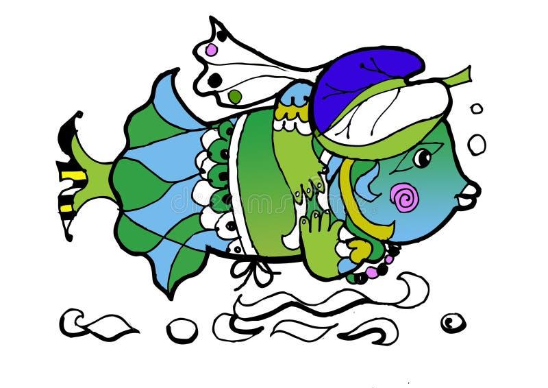 Peixes no chapéu, livro de coloração imagens de stock