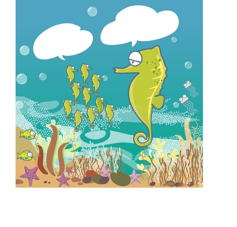 Peixes no oceano azul - ilustração gráfica bonito do cavalo marinho dos desenhos animados do ícone ilustração stock
