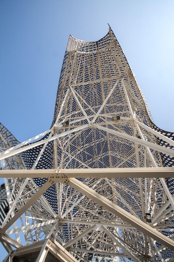 Peixes ou Peix de Barcelona da escultura, pelo arquiteto Frank Gehry, porto Olimpic, Barcelona, Catalonia, Espanha, Europa, em se imagem de stock royalty free