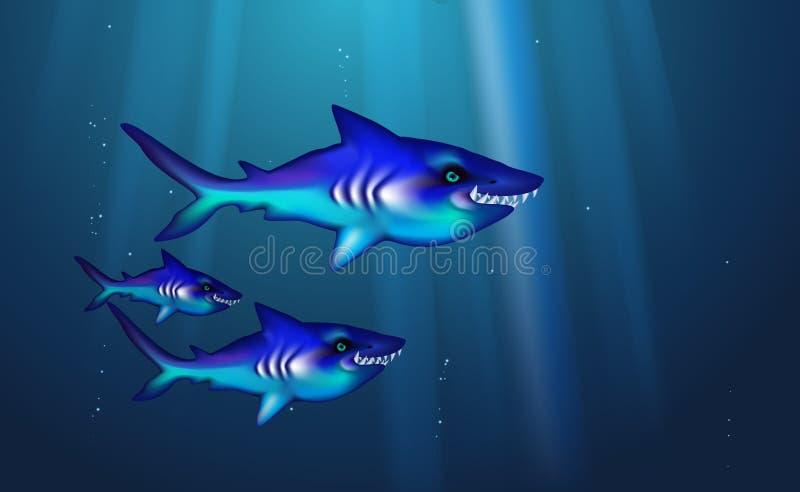 Peixes pequenos do rebanho do fundo azul predador selvagem dos tubar?es Os desenhos animados engra?ados chanfram a vida marinha a ilustração royalty free