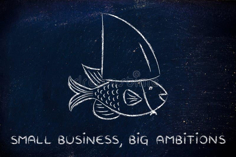 Peixes pequenos que vestem uma aleta falsificada do tubarão, conceito de ter o ambit grande fotos de stock royalty free