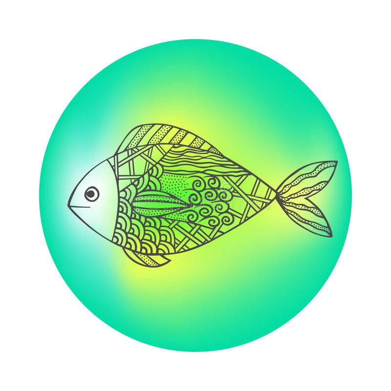 Peixes pretos tirados mão isolados do esboço no colorido em volta do fundo Ornamento de linhas da curva ilustração do vetor
