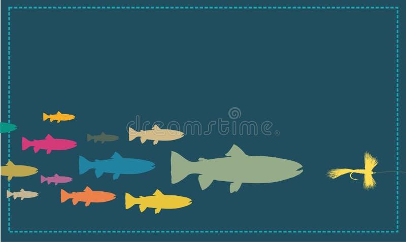 Peixes que perseguem uma atração ilustração royalty free
