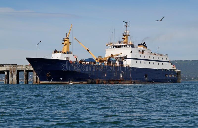 Peixes que processam o barco no louro imagens de stock