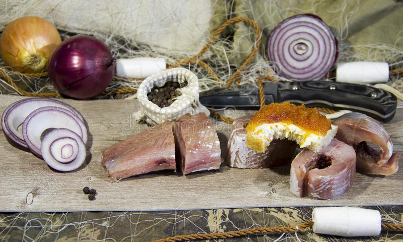 Peixes salgados cozinhados ap?s a captura imagens de stock royalty free