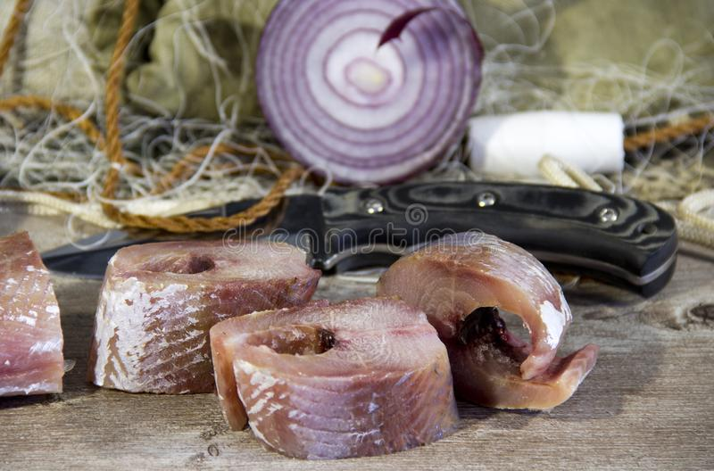 Peixes salgados cozinhados ap?s a captura foto de stock