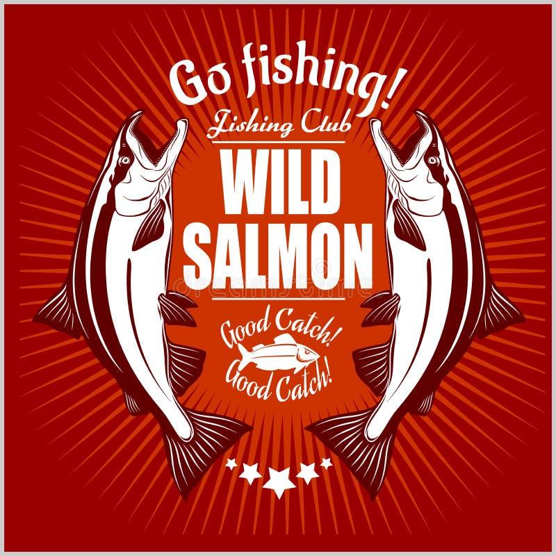 Peixes Salmon O vintage Salmon Fishing simboliza, etiquetas e elementos do projeto Ilustração do vetor no vermelho ilustração do vetor