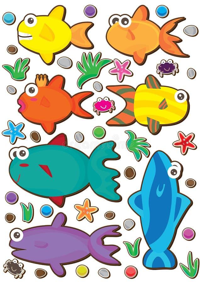Peixes Set_eps colorido ilustração royalty free