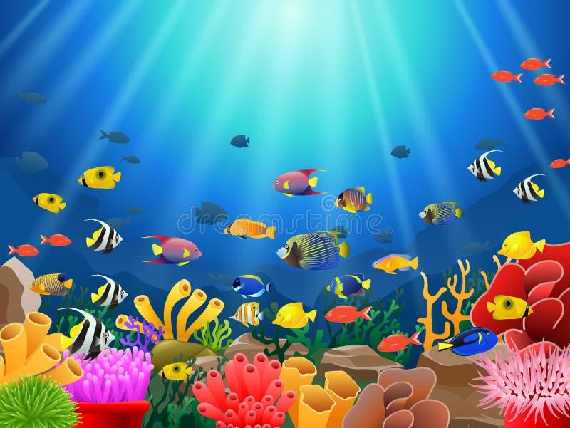 Peixes sob o mar ilustração do vetor
