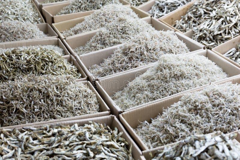 Peixes sortidos secados da anchova fotografia de stock
