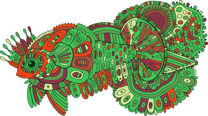 Peixes surreais da garatuja Arte finala colorida tirada mão dos desenhos animados Linha de cor desenho decorativo Ilustra??o do v ilustração do vetor