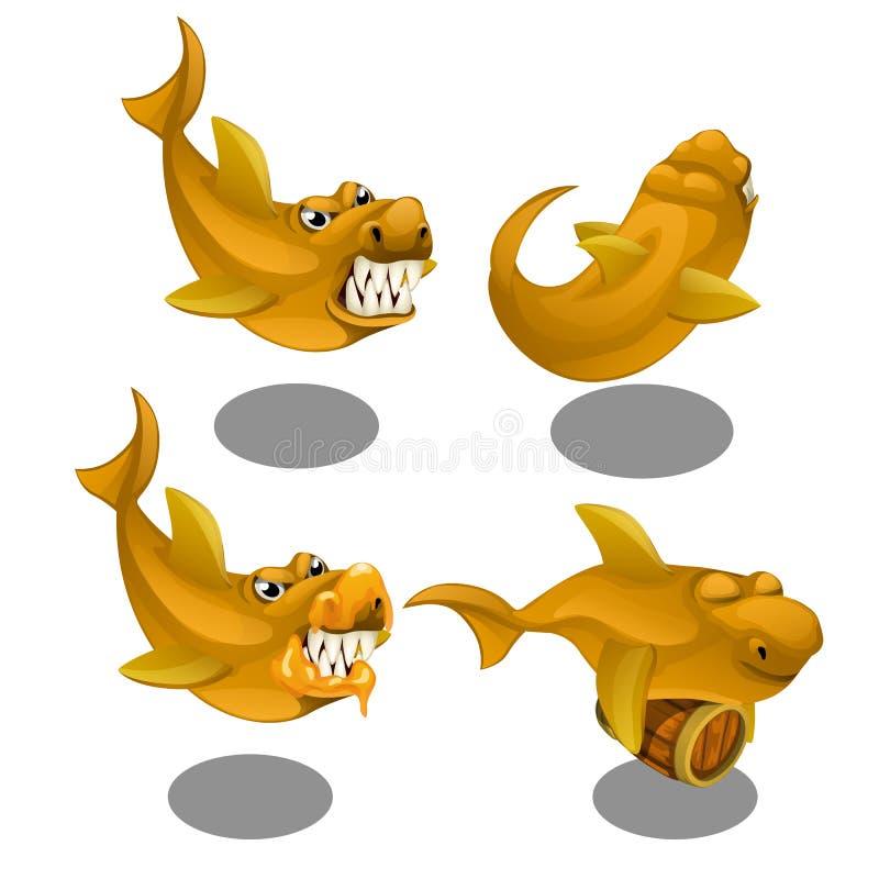 Peixes toothy engraçados com um tambor de madeira isolado no fundo branco Ilustração do close-up dos desenhos animados do vetor ilustração do vetor