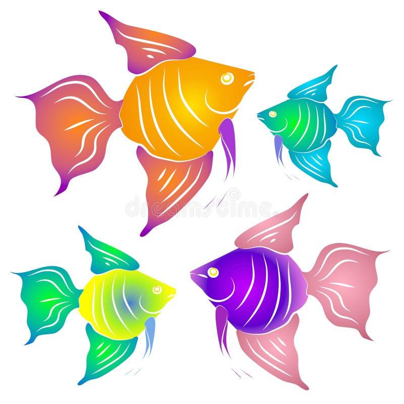 Peixes tropicais coloridos Clipart ilustração do vetor