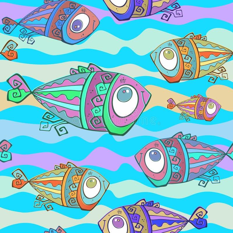 Peixes tropicais decorativos Teste padr?o sem emenda Mundo subaqu?tico Vetor ilustração stock